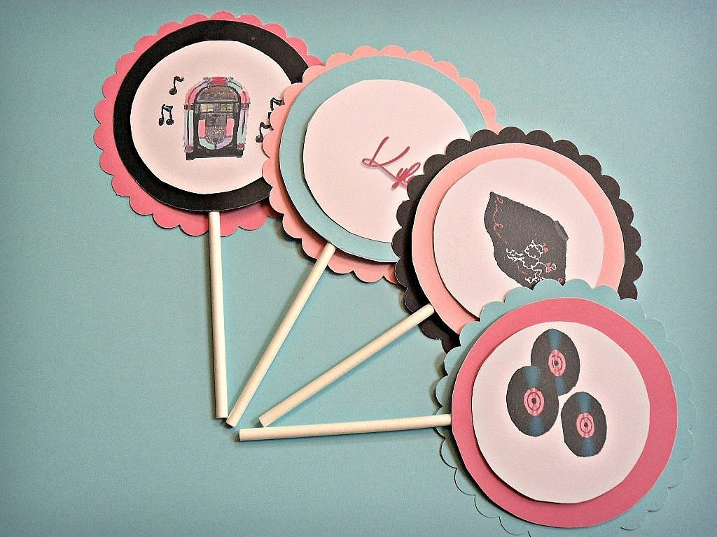 birthday-party-50s-sock-hop cupcake toppers