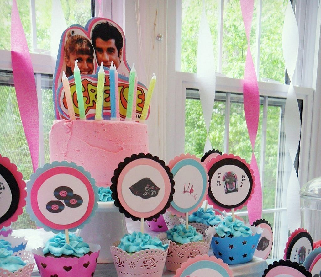 birthday-party-50s-sock-hop cake and cupcakes