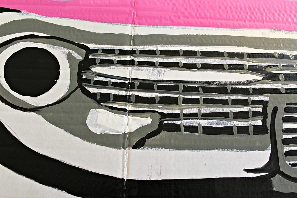 Party Decorations: How to make 50s Pink Cadillac Photo Prop - use white to clean up any necessary areas