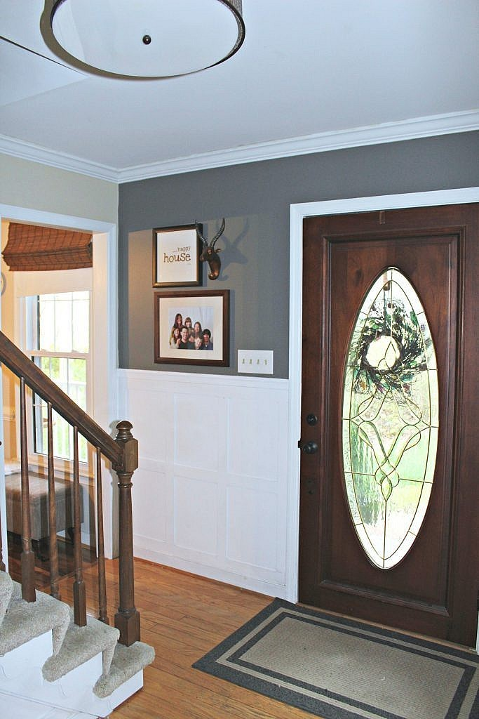 How to plan a quick and inexpensive foyer makeover for Cheap stair makeover