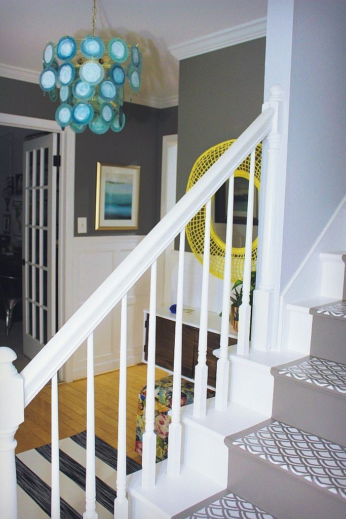 My Foyer Staircase Reveal : One room challenge inexpensive foyer make over the