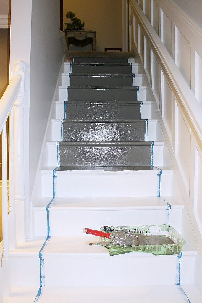 Stairs With Painted Runner Base Color Being Applied