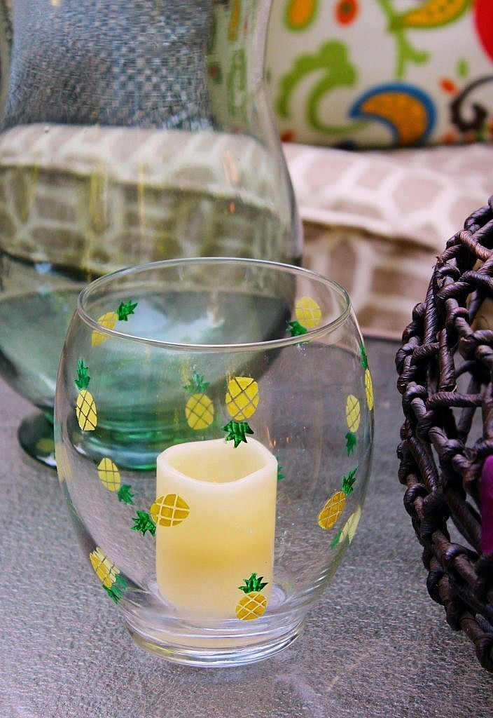 Dollar Store Craft: Summery Candle Holder with Pineapples